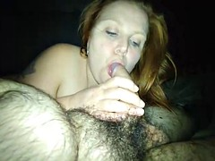 fat amateur ginger wife sucks a dick