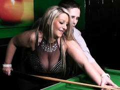 Honcho blonde in nylons fucked insusceptible to the pool table