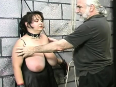 Naked woman servitude at home with lewd guy