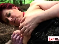 Horny granny Tamara moans loud as A she gets her cunt squashed