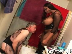 Favourable man gets some foaming at the mouth sexy facesitting action