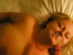 Blonde sweeping gets a heavy cum facial