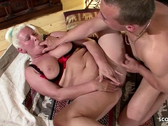 Ugly BBW Granny Inveigle Step Grandson to Be wild about when Alone