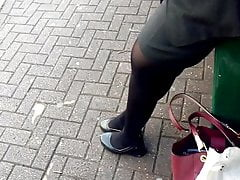 Pretty Asian Woman at Bus Stop