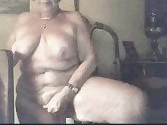 an old slut caresses herself elbow the foot of the stairs