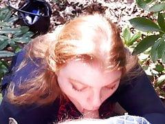 BBW Wife Miss Lizz Outdoor Blowjob, Meeting in hammer away Woodland