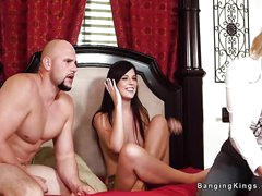 Threesome continue sex show with stepmom and a hunky mendicant with big cock and muscles