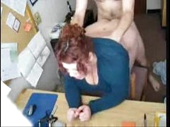 chunky redhead fucked in office
