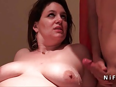 French cougar with big butt hard banged and jizzed on tits