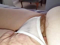 long pubic hairs sticking from discern through pantys