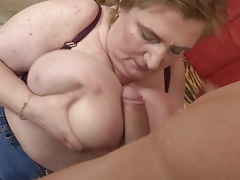 Well-endowed dominate grown-up mom fucking young son