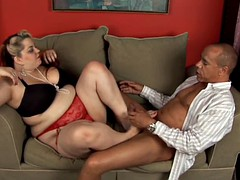 Kinky pretty good BBW in stockings gives a sexy footjob