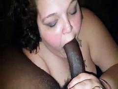 Fat white floozy sucking long black dick
