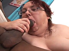 bbw mature sucks and fucks a big gloomy cock 'til she's facialized